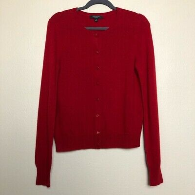 $14 • Buy Ann Taylor Cashmere Button Front Long Sleeve Cardigan Sweater Christmas Red M