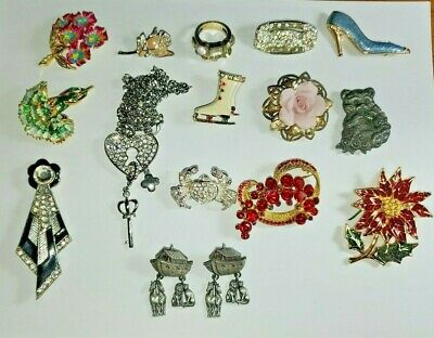 $ CDN40.15 • Buy Lots Of 15 Vintage Pins And Necklace 16pcs OFFERS  WELCOME