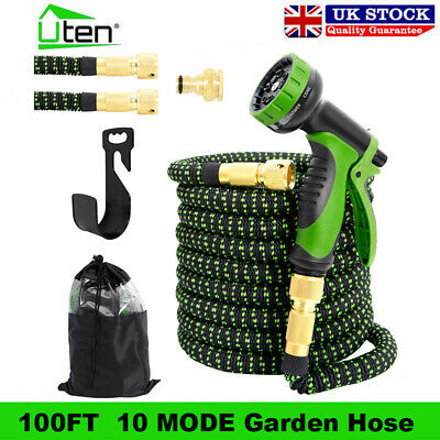 25-100FT Garden Hose Pipe Water Spray Gun 3X Expandable Flexible Brass Fittings • 30.99£