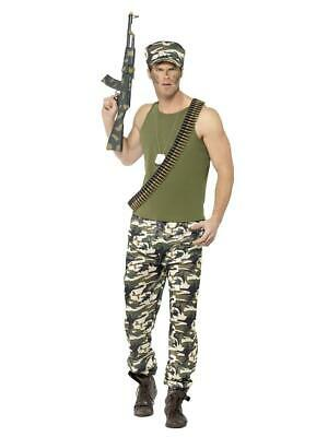 Adults Large Mens Army Guy Soldier Uniform Military Fancy Dress Costume Outfit • 19.99£