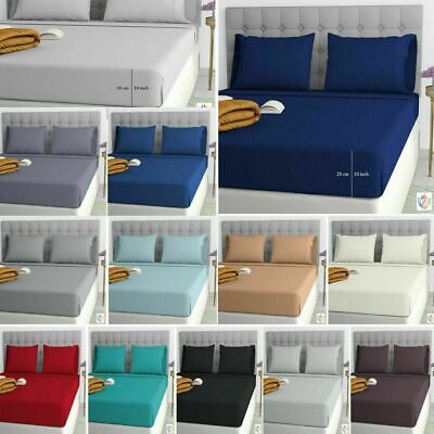 Fitted Sheet Deep (25CM) Box Bed Sheet 100% Poly Cotton 4FT-Small Double Size • 2.99£