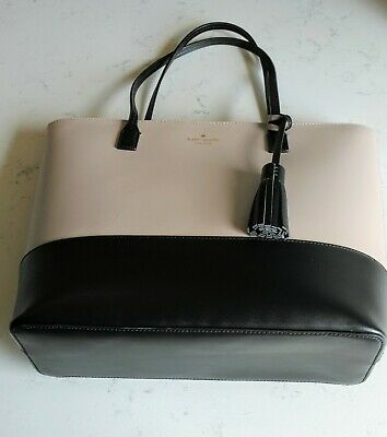 $ CDN79.11 • Buy Kate Spade Sawyer Street Tote Color Block Taupe/Black EUC HANDBAG PURSE **
