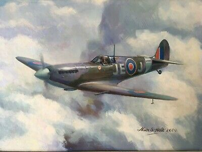 £3000 • Buy Mk IX Spitfire, Oil On Board, Signed By Johnnie Johnson