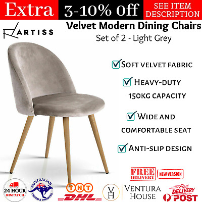 AU107.26 • Buy 2X Artiss Dining Chairs Armchair Velvet Fabric Seat Modern Furniture Iron Grey