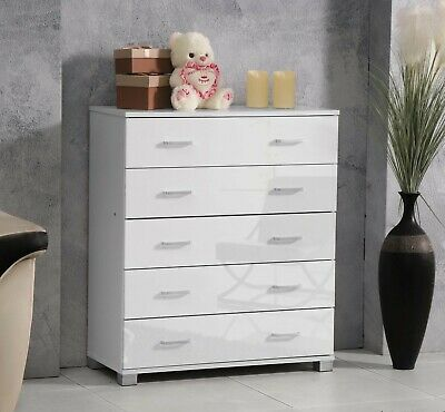 Chest Of 5 Drawers Cabinet High Gloss Finish Ideal For Bedroom Clothes Furniture • 79.99£