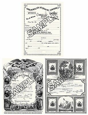 $16 • Buy Civil War Confederate And Union Discharge Papers Blank Reproductions
