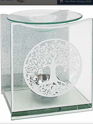 Silver Glitter Tree Life Glass Mirror Oil Burner Candle Tealight Present Gift  • 12.99£