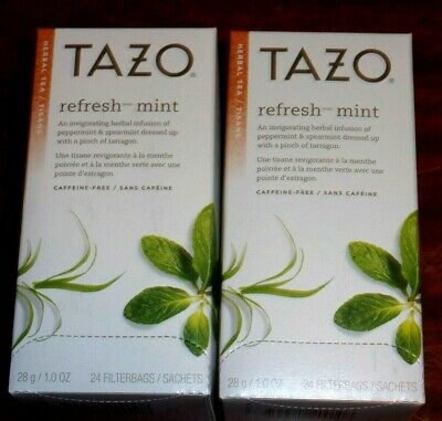 2 - Tazo Refresh Mint Tea Bags 24 Count Boxes (48 Total Tea Bags) New • 11.77£