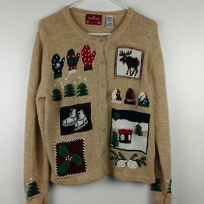 $4.99 • Buy Holiday Lodge Womens Christmas Cardigan Large 14/16 Mittens Trees Reindeer