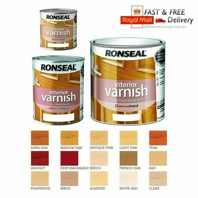 Ronseal Diamond Hard Interior Varnish Gloss Satin 250ml/750ml/2.5L All Colours • 16.99£