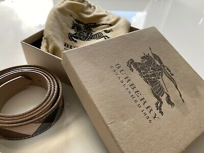"Burberry Ladies Belt Nova Print Genuine Leather Size 40"" / 100cm • 49.99£"