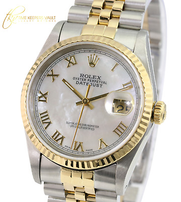 $ CDN7383.99 • Buy Rolex Mens Datejust 16233 36mm White MOP Roman Numeral Dial 18K Gold Bezel