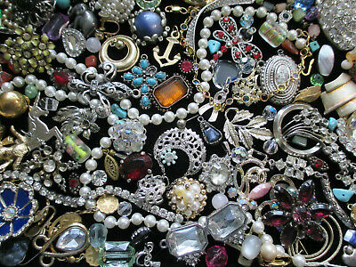 $ CDN31.98 • Buy VINTAGE To MOD JEWELRY BITS & PIECES For CRAFTS HARVEST * LOTS Of RHINESTONES