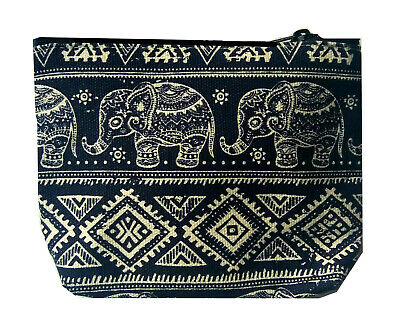 £3.99 • Buy Navy Blue Cotton Coin Purse With Baby Elephant Design