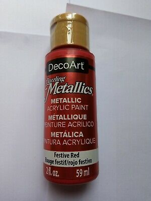 Festive Red Dazzling Metallic Acrylic Paint By DecoArt Size 59ml 2fl.oz • 3£