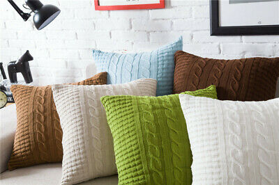 £12.99 • Buy Comfy Cotton Knit Twisted Cables Cushion Cover Sofa Throw Pillow Case Buttons
