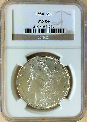 $61 • Buy 1886 Morgan Silver Dollar Graded MS64 By NGC $1 Coin