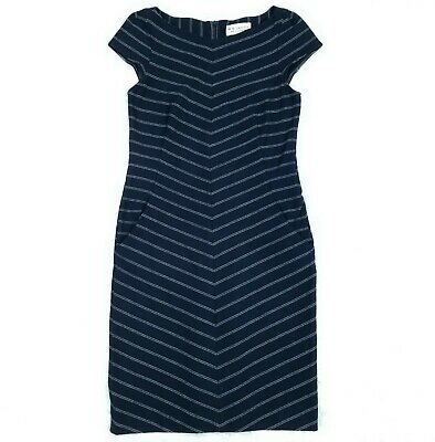 $ CDN80.54 • Buy MM Lafleur Nisa Dress Size 6 Navy Burgundy Stripe
