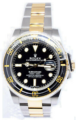 $ CDN21058.29 • Buy Rolex NEW Submariner Date 18k Gold & Steel Ceramic Black Watch Box/Papers 116613