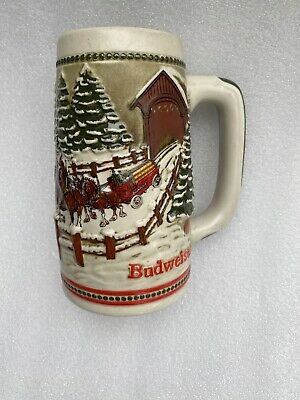 $ CDN9.15 • Buy Budweiser Christmas, Clydesdale, Covered Bridge 1984 Stein Mug Vintage