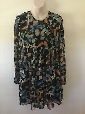 AU11 • Buy Bnwt Asos Navy Butterfly Baby Doll Dress / Long Top Aus Size 12