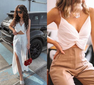 $45 • Buy Nwt_zara Ss20 Pleated Knot Crop White Detail Top _5039/964