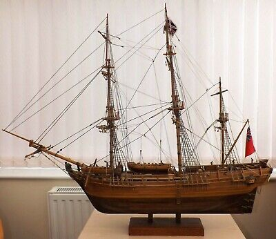 Large HMS Endeavour Handcrafted Wooden 3 Mast Model Sailing Ship On Wooden Stand • 499£