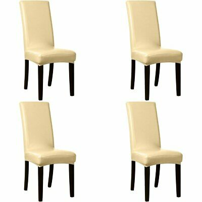 AU28.49 • Buy Dining Chair Covers 4Pcs PU Leather Waterproof Stretch Slipcovers Wedding Party