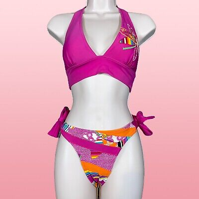 $ CDN36.39 • Buy SOAKED Womens Bikini Set Large Pink Floral Sequin Triangle Striped Bow Halter