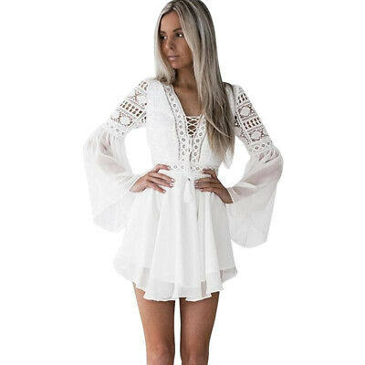 AU58.95 • Buy Women's Lace Embroidery Flare Sleeve Mini Dress