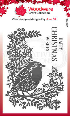 Woodware Clear Stamp Set - Lino Cut Robin & Holly By Jane Gill JGS728 • 6£