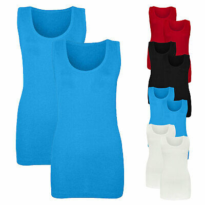 £7.49 • Buy New Pack Of 2 Women's Fitted Ribbed Vest Tops Ladies 14-28 UK Sizes In 4 Colours
