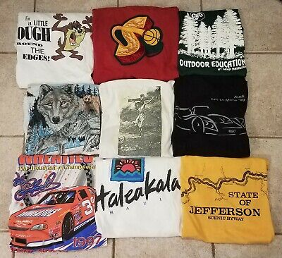 $ CDN26.48 • Buy Vintage 90s T-Shirt Wholesale Lot 9 Single Stitch Sonics Nascar Taz Resale As Is