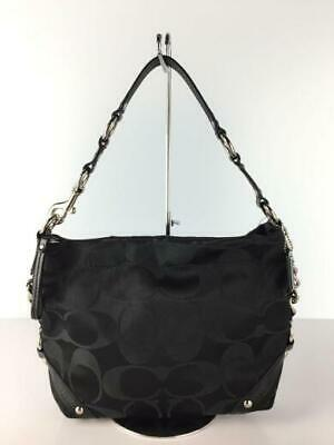 $ CDN265.56 • Buy COACH  - Signature Curly Satin Canvas 2Way F15250 Sholder Bag Over From Japan