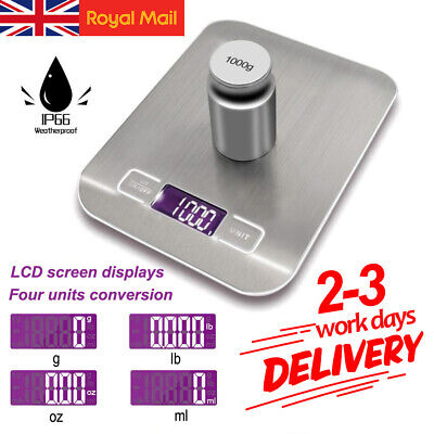 LCD Digital Kitchen Bowl Scales Stainless Steel Baking Cooking Food Weighing 5KG • 8.99£
