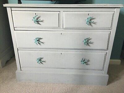 Annie Sloan Paris Grey Painted Wooden Chest Of Drawers Shabby Chic • 14.50£