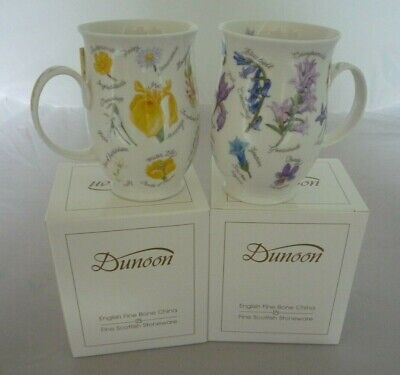 Two Dunoon Fine Bone China Mugs Yellow And Purple Flowers NEW • 29.99£
