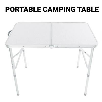 Folding Camping Table Picnic Portable Height Adjustable Garden Party BBQ 90X6CM • 23.99£