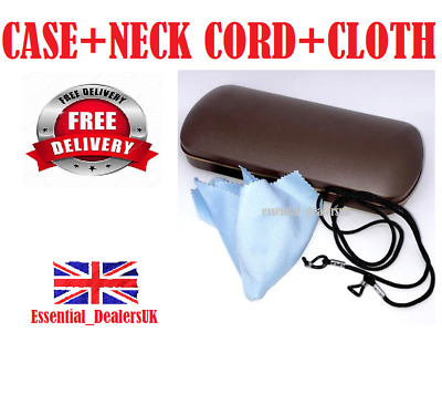 £2.99 • Buy GLASSES CASE With Cloth & Neck Cord Snap Shut Hard Shell Protection Reading