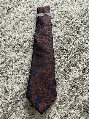 £19.99 • Buy Ted Baker Knotted Navy Silk Tie With Brown Flowers Pattern