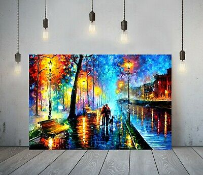 Afremov 1 -deep Framed Canvas Wall Art Painting Picture Paper Print- Blue Orange • 19.99£