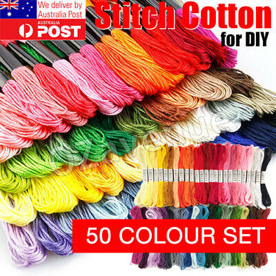 AU12.85 • Buy 50pcs/set DMC Cross Stitch Cotton Embroidery Thread Floss Sewing Skeins Craft