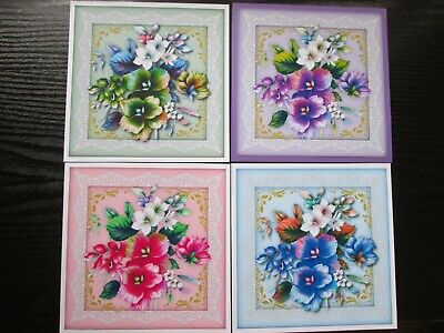 £2.25 • Buy  4 X PAINTED FLOWERS In 4 Different Colours ----  Card Toppers & Sentiments