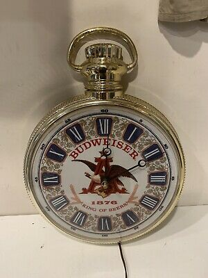 $ CDN105.44 • Buy Vintage Budweiser Beer Sign 1876 Pocket Watch Clock Bud Advertisement WORKS