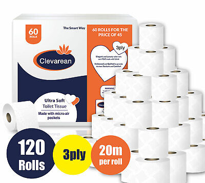 120 Rolls X 20m (Per Roll) 3Ply Quilted & Embossed Luxury Toilet Tissue👌👌 • 34.99£