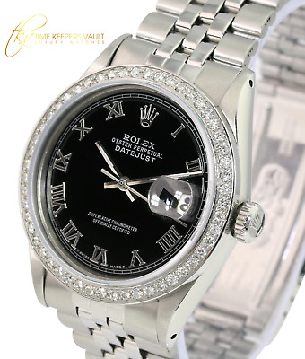 $ CDN5638.19 • Buy Rolex Men's 36mm Watch Datejust Stainless Steel Black Roman Dial Diamond Bezel