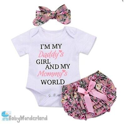 AU20.95 • Buy Baby Girl 3Pcs Outfit Set Top +Ruffle Bloomer Skirt Shorts Headband Clothes 0-2Y