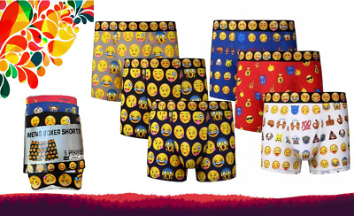 Men's Emoji Smiley Funky Faces Cotton Underwear Boxer Shorts Trunks All Size Lot • 6.99£