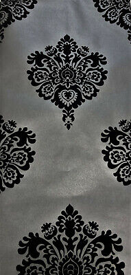 Exclusive Milan Velvet Flock Black/Grey Damask Wallpaper (22001) • 29.99£