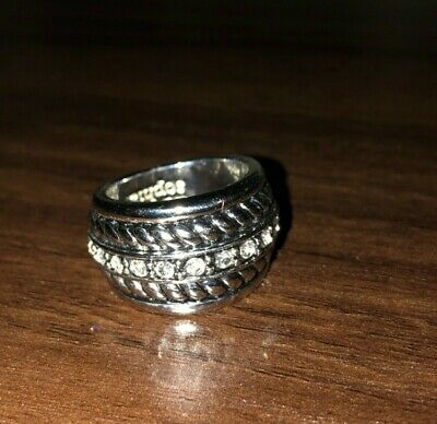 $ CDN10.85 • Buy Lia Sophia Silver Tone Band Ring With Crystals And Rope Detail - Size 6 - VGUC!